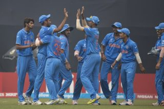 India U-19 celebrates the wicket of Kaveen Bandara.