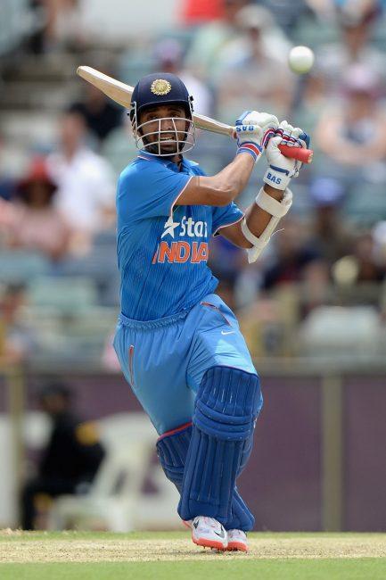 Ajinkya Rahane of India in action.