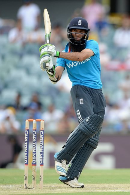 Moeen Ali of England plays a shot.
