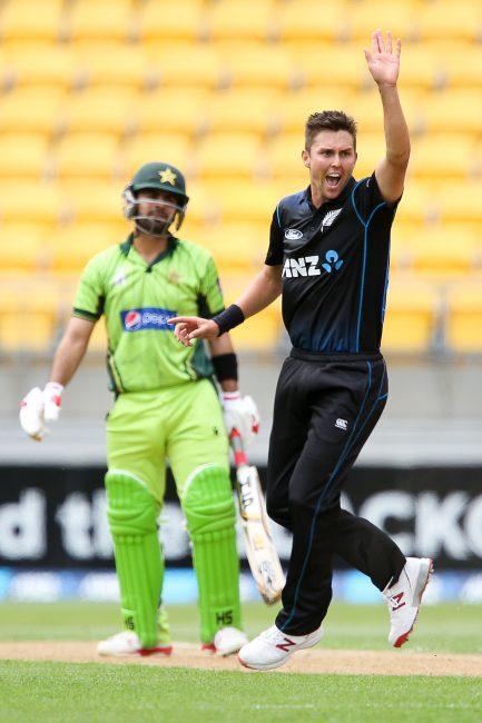 Trent Boult celebrates a wicket.