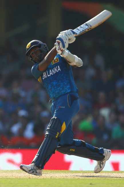 Angelo Mathews plays a shot.