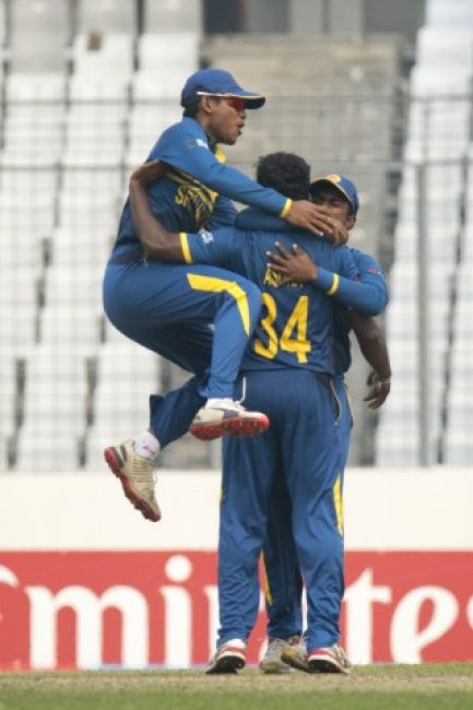 Sri Lanka U-19 celebrates the wicket of Sarfaraz Khan.