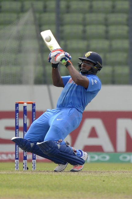 Sarfaraz Khan in action against West Indies U-19.