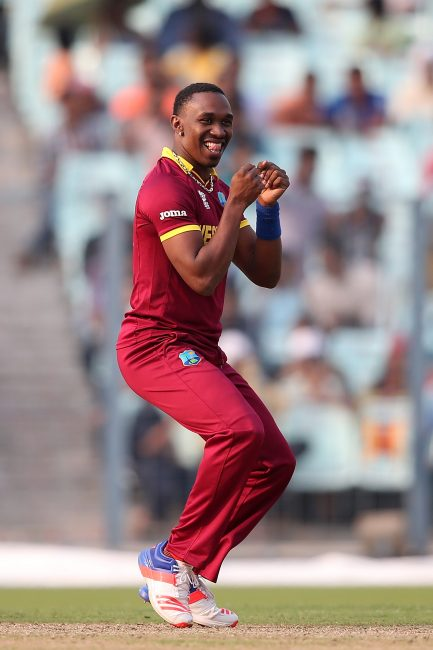 Dwayne Bravo during the warm-up game against Australia.
