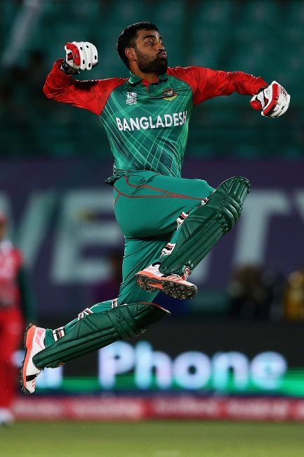 Tamim Iqbal celebrates his first Twenty20 International century.