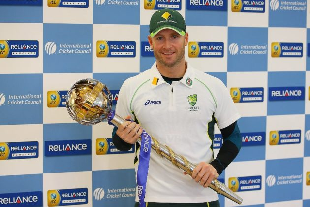 Michael Clarke gets his hands on the Reliance ICC Test mace - Cricket News