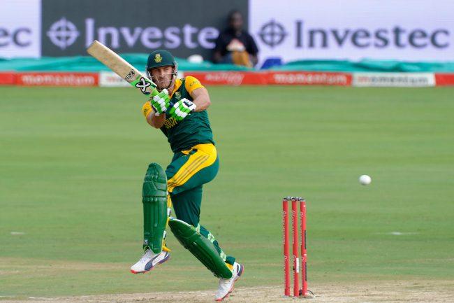 Faf du Plessis plays a shot.