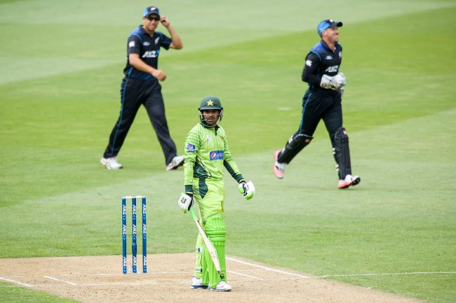 Haris Sohail reacts after being dismissed.