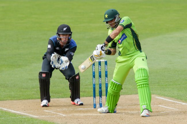 Misbah-ul-Haq plays a shot.