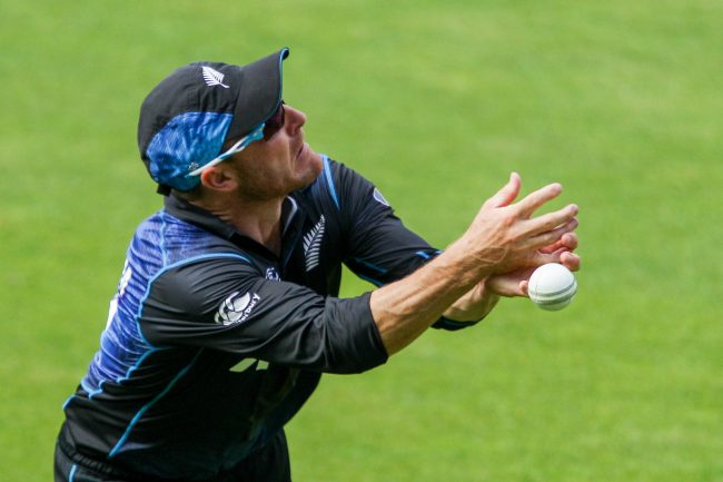 Brendon McCullum drops a catch during the match.