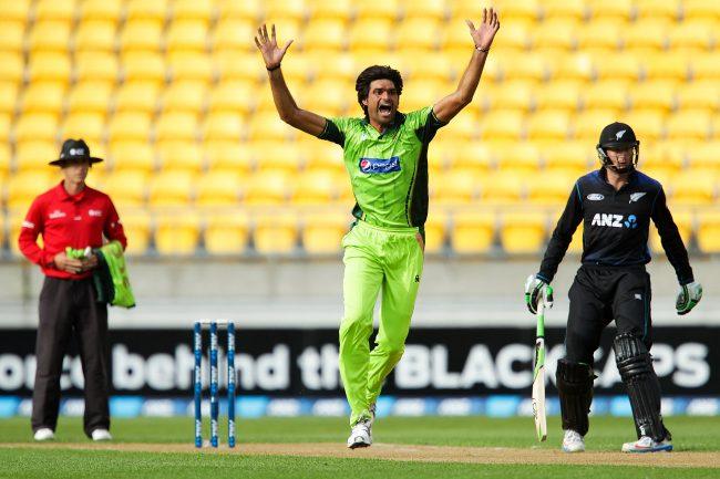 Mohammad Irfan celebrates a wicket.