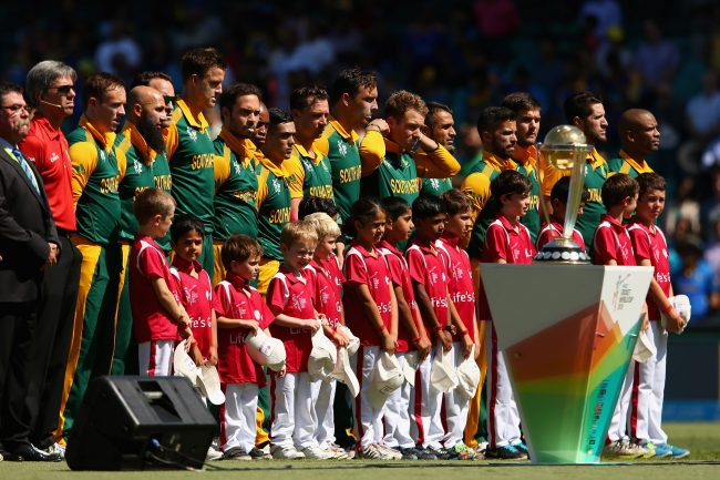 Team South Africa during the national anthem.