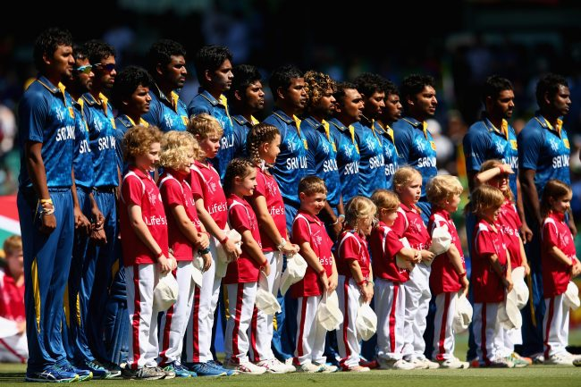 Team Sri Lanka during the national anthem.