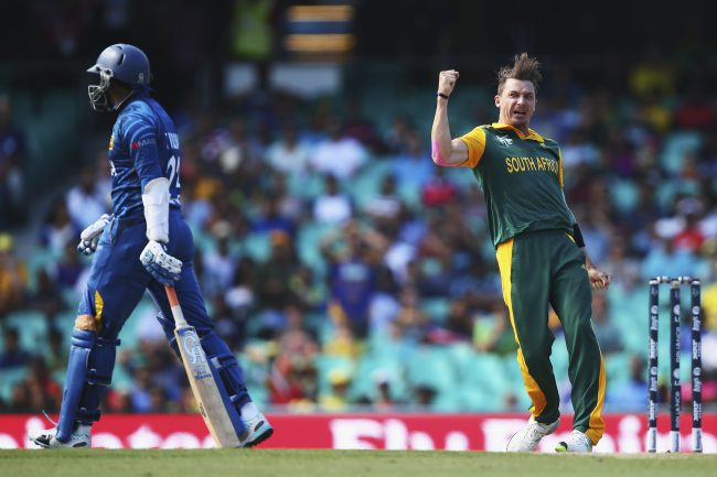 Dale Steyn celebrates after taking the wicket of Tillakaratne Dilshan.