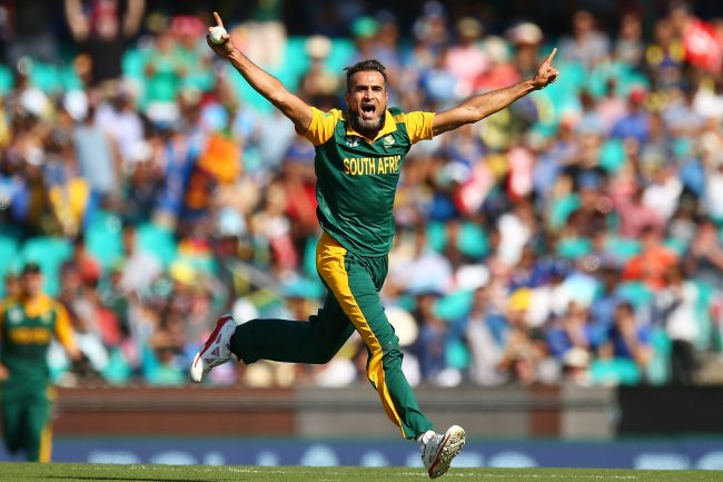 Imran Tahir celebrates after getting two quick wickets.