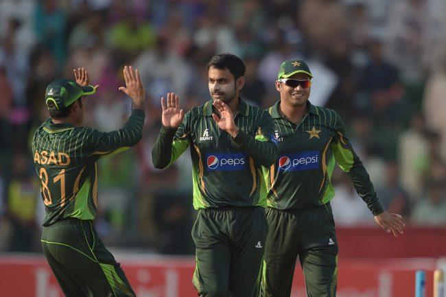 Mohammad Hafeez celebrates a wicket.