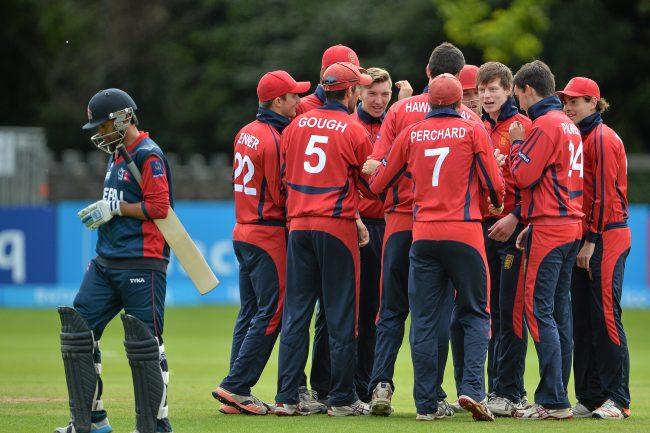 Jersey celebrates a wicket.