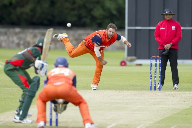 Michael Swart bowls during the match.