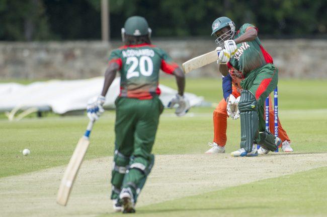 Kenya batsman plays a shot.