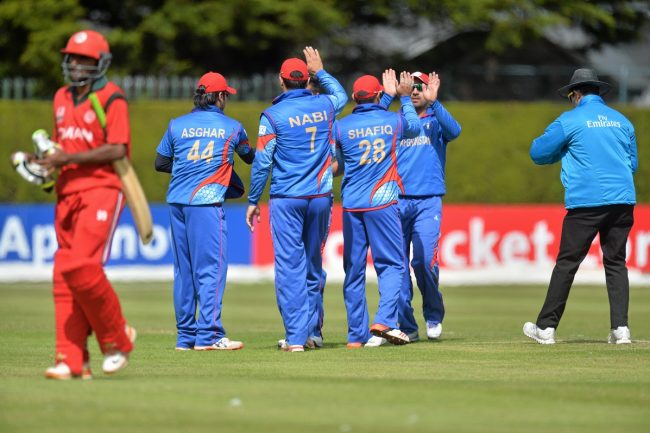 Afghanistan celebrate the wicket of Mohammad Nadeem.