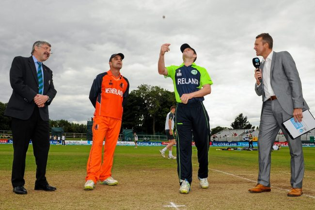 Match Referee David Jukes, Netherlands Captain Peter Borren, Ireland Captain William Porterfield and Presenter Dominic Cork during the toss before the match.