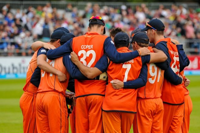 Netherlands players in a huddle before the start of its match against Ireland.
