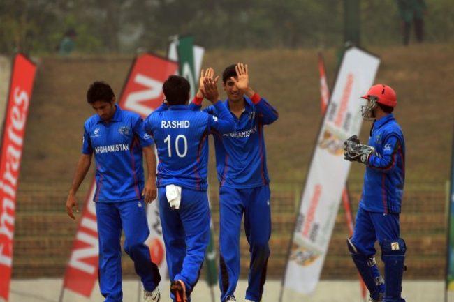 Afghanistan U-19 celebrates a Canada wicket.