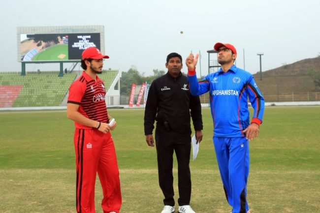 Canada U-19 and Afghanistan U-19  Captains during the toss.