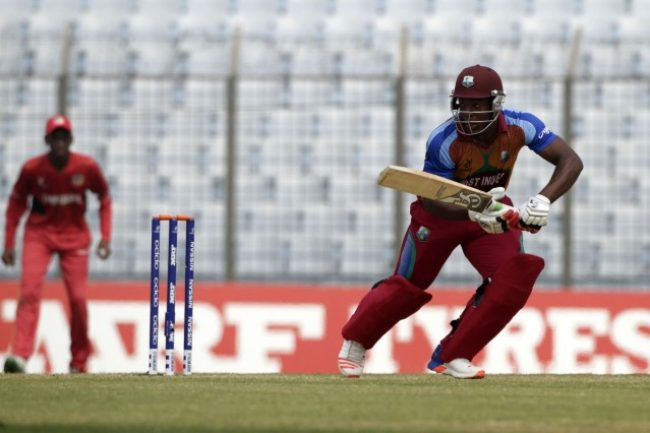 Odean Smith of West Indies U-19 plays a shot.