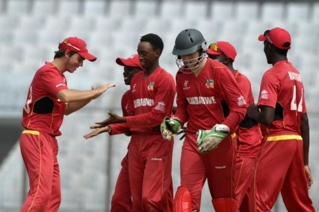 Zimbabwe U-19 celebrate the fall of wicket.