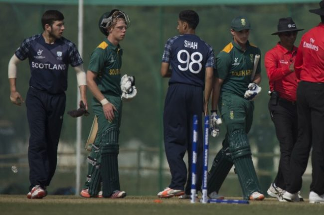South Africa U-19 and Scotland U-19 players after the match.