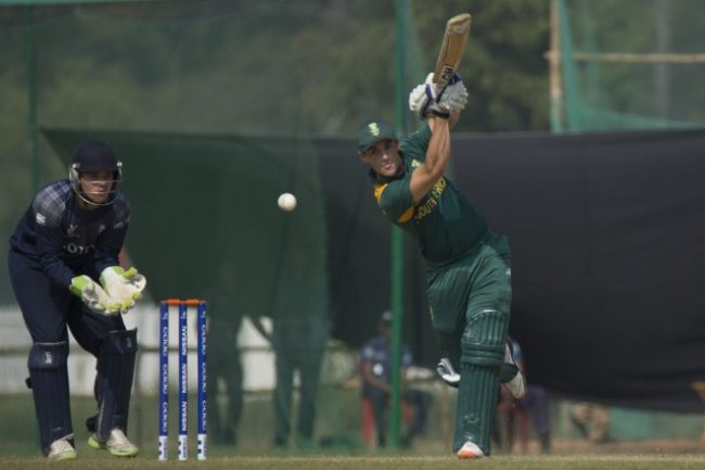 South Africa U-19 batsman plays a shot.