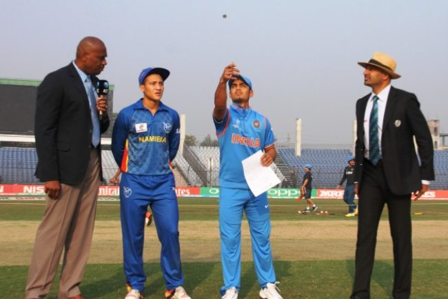 Toss between India U-19 and Namibia U-19.