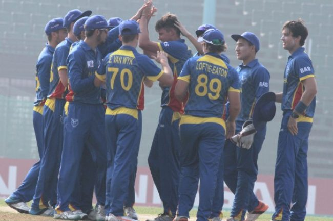 Namibia U-19 celebrates the wicket of Ishan Kishan.