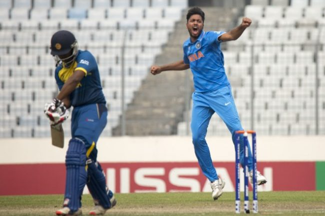Avesh Khan celebrates the wicket of Avishka Fernando.
