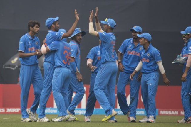 India U-19 celebrates the wicket of Kaveen Bandara.