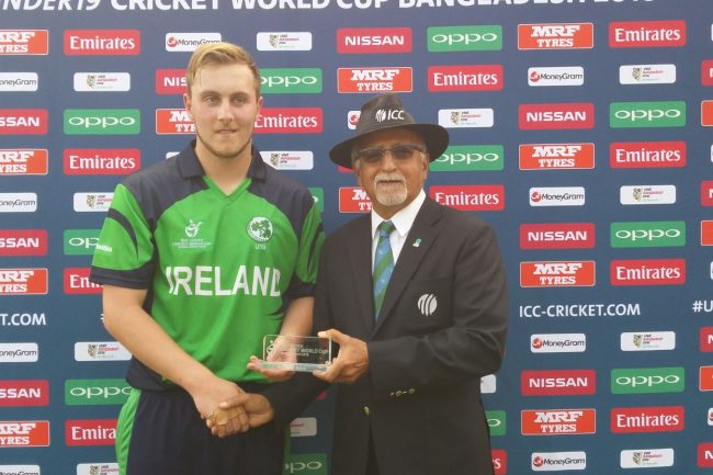 William McClintock of Ireland U-19 with his Man of the Match award.