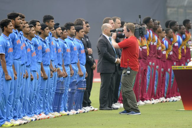 U-19 finalists during the National Anthem.