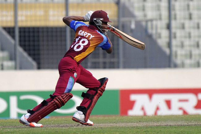 DHAKA, BANGLADESH - FEBRUARY 14: Keacy Carty of West Indies U19 bats during the ICC U19 World Cup Final Match between India and West Indies on February 14, 2016 in Dhaka, Bangladesh.  (Photo by Pal Pillai/Getty Images for Nissan)