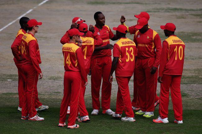 Tendai Chatara celebrates a wicket.