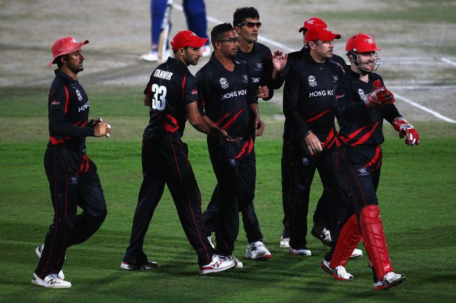 Nadeem Ahmed celebrates a wicket.