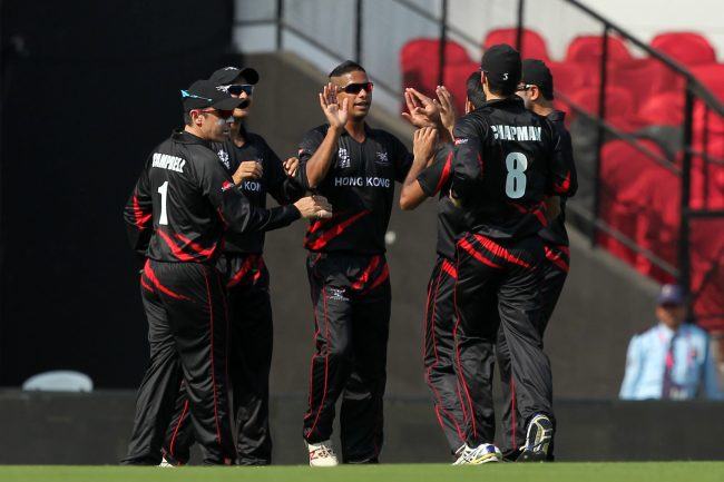 Nadeem Ahmed celebrates the wicket of Richmond Mutumbami.
