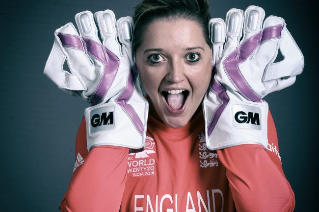 Sarah Taylor pulls a funny face for the cameras ahead of the Women's ICC World Twenty20 2016