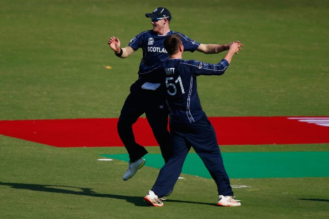Michael Leask celebrates a wicket.
