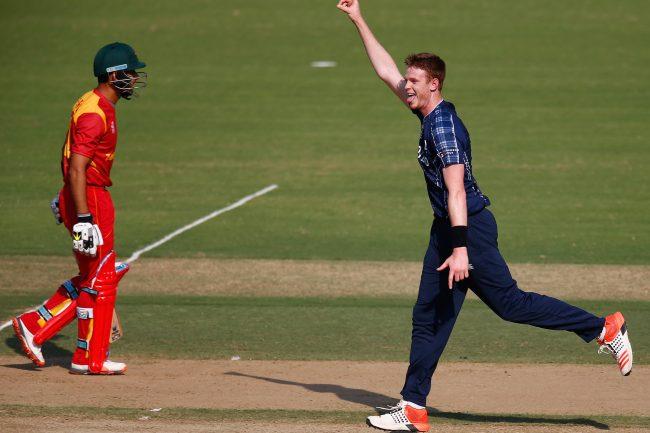 Alasdair Evans celebrates a wicket.