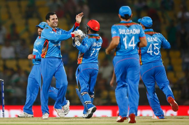 Mohammad Nabi celebrates a wicket.