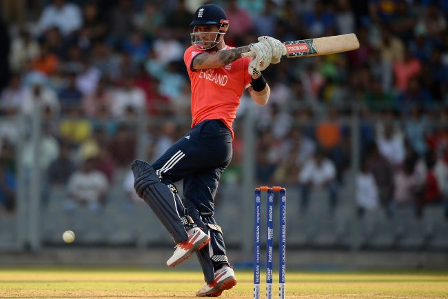 MUMBAI, INDIA - MARCH 12:  Alex Hales of England bats during the ICC Twenty20 World Cup warm up match between New Zealand and England at Wankhede Stadium on March 12, 2016 in Mumbai, India.  (Photo by Gareth Copley/Getty Images,)