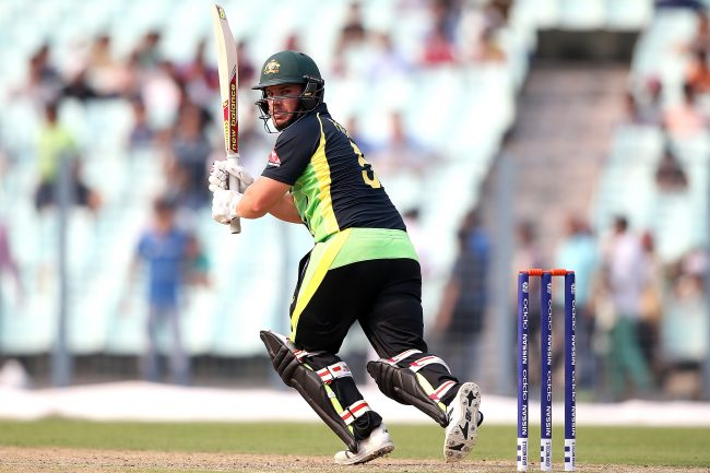 Aaron Finch in action against West Indies in the warm-up game.