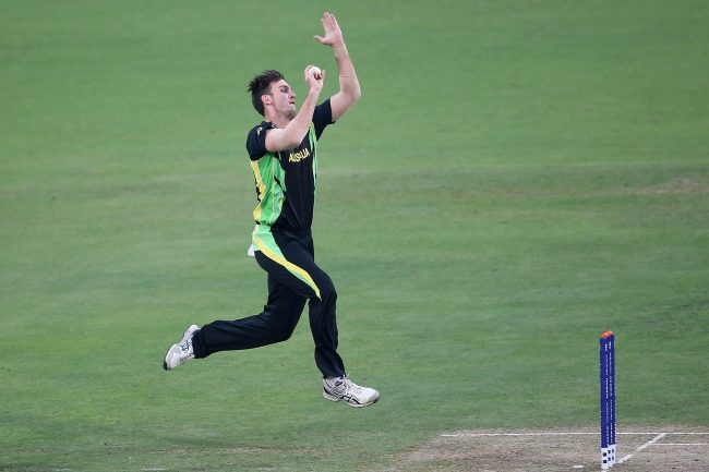 Mitchell Marsh bowls against West Indies.