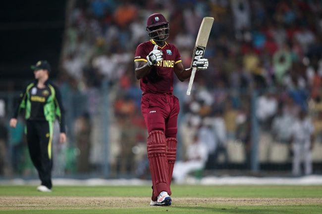 Darren Sammy celebrates after West Indies victory over Australia.